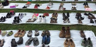 The shoes in Fountain Park each represent a person who could lose health care without the ACA.