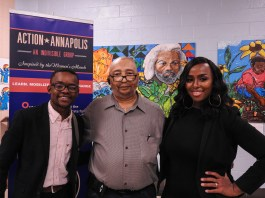 Community activist and student DaJuan Gay (L); Andre Atkins, president of the Harbour House / Eastport Terrace Tenants' Association; and Shaneka Henson, unopposed Aldermanic candidate for Ward 6 (R), at Action Annapolis' Ward 6 forum, held on September 14, 2017.