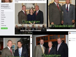 Images from public Facebook page of Laura's Eyes Photography show attendees of Sept. 2017 Severna Park fundraiser for Alabama Senate candidate Roy Moore. (Top L to R): Roy Moore with Natalie Peroutka and her husband, Councilman Michael Peroutka. Roy Moore and County Exec. Schuh. (Bottom L to R): Roy Moore and Judge Mark W. Crooks. Rep. Andy Harris, Peroutka, Sen. Ed Reilly.
