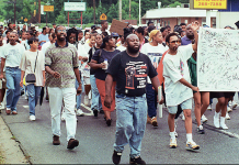 Group of people marching.