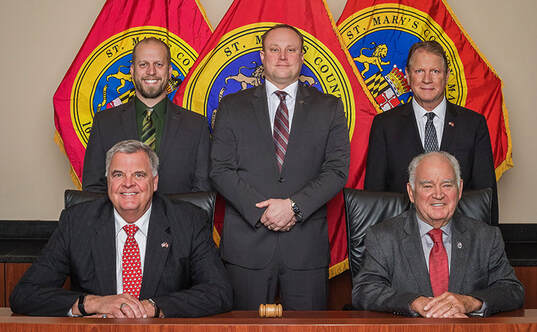 St. Mary's County Commissioners - Back row - Eric Colvin, John O'Connor, Mike Hewitt. Front row - Todd Morgan, Randy Guy