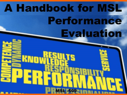 Handbook MSL Performance Reviews