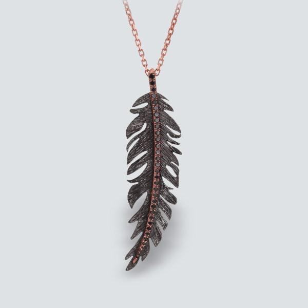 Rose Plated Feather Necklace