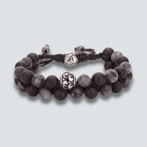 Labradorite Matte With Black Onyx Bracelet