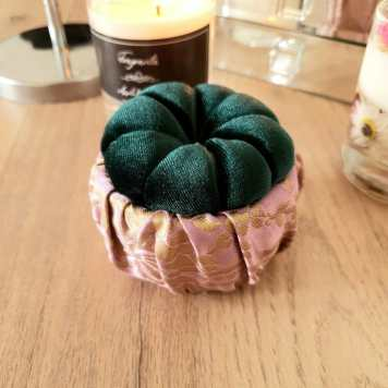 Forest Green & Pink Pin Cushion