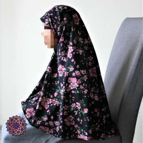 Small Pink Floral Bunches Girls' Khimar
