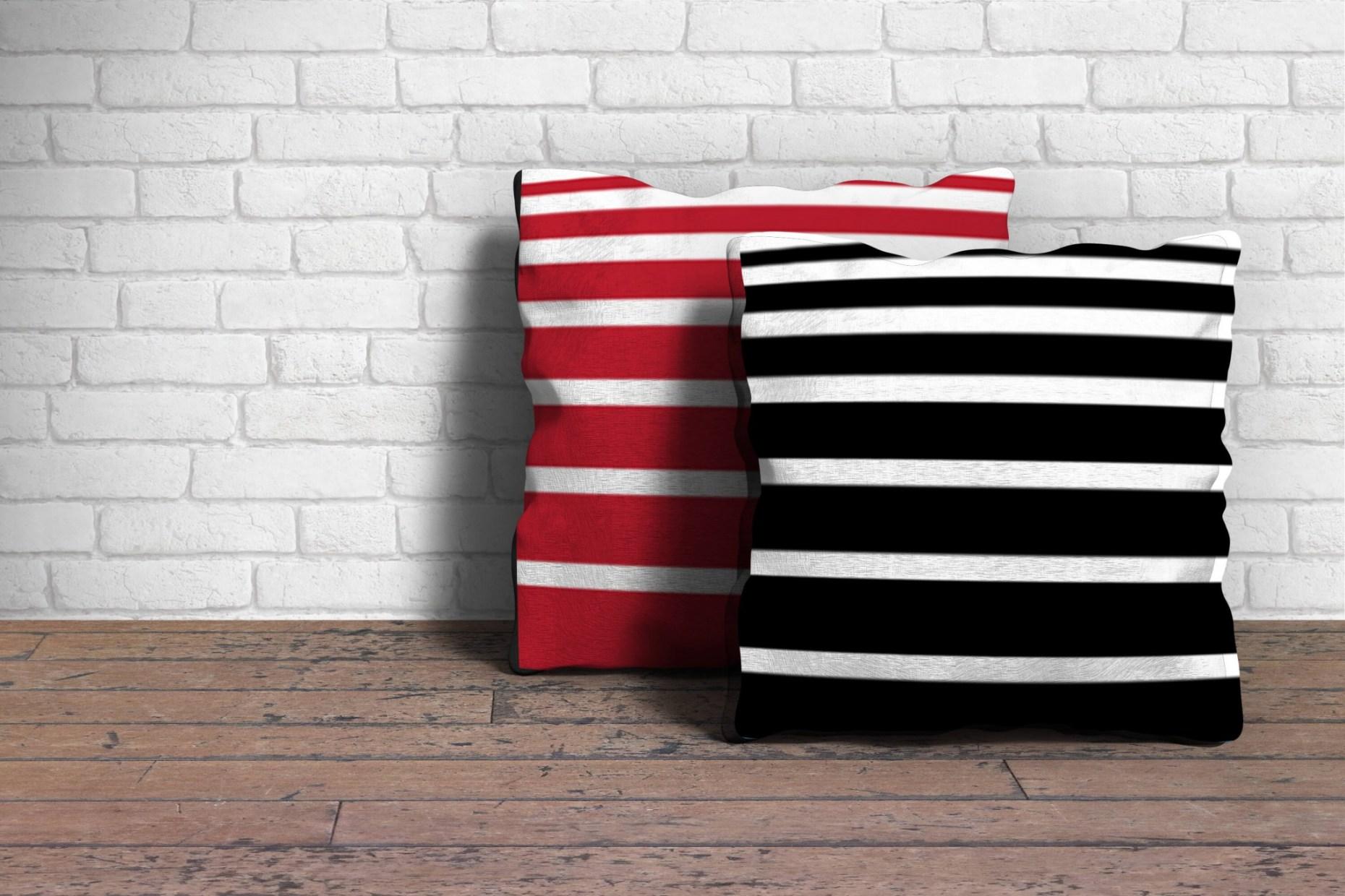 Uddannelse: Produkt og Emballage sort/rødstribet puder