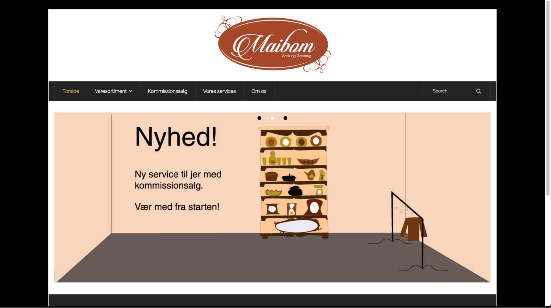 Uddannelse: Maibom Antik og Genbrug webdesign og hjemmeside