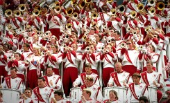 A large group of band members, mid-performance.