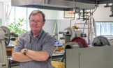 Rick Smith in his glassblowing lab