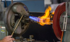 using a blowtorch to soften glass