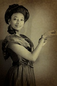 Ensemble member Sandra Gates in costume. Photo credit, Charles Moncrief.