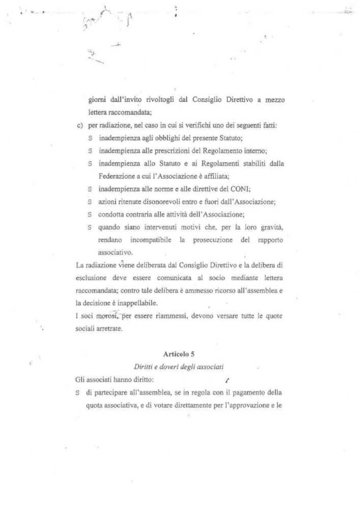 ASD 5 PARI STATUTO 8 - STATUTO