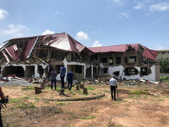 The part-bulldozed structure near the Nigerian High Commission