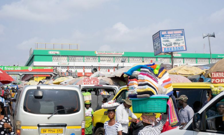 Public transport yard with trotros and taxis
