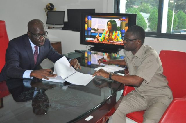 Governor Godwin Obaseki and Deputy Philip Shaibu in office