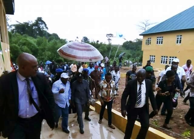 Governor Ifeanyi Okowa and Hon Christopher Ochor Ochor, DESOPADEC, at the Commissioning of The Umutu Skill Acquisition Centre