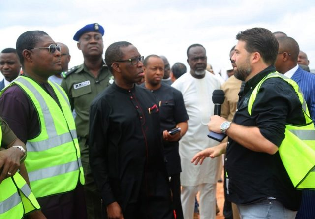 Delta State Governor, Senator Ifeanyi Okowa (2nd left) Commissioner for Works, Chief James Augoye (left) Delta North PDP Chairman, Mr. Moses Iduh (2nd right); Setraco Area Manager, Jihad Yahgi (right) and Others, during the Governor's Inspection of the Rehabilitation of Runway and Taxiways, Extension of Box Culvert and Ancillary Works, at Asaba International Airport.