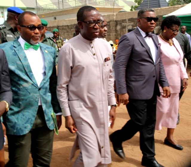 Delta State Governor, Senator Ifeanyi Okowa (2nd left); Commissioner for Health, Dr Mordi Ononye (right); Permanent Secretary, Ministry of Health, Dr (Mrs) Mimi Oseji (right), and the State Chairman, Nigerain Medical Association, Dr Otene Cletus, during the Foundation Laying of the State NMA House In Asaba.