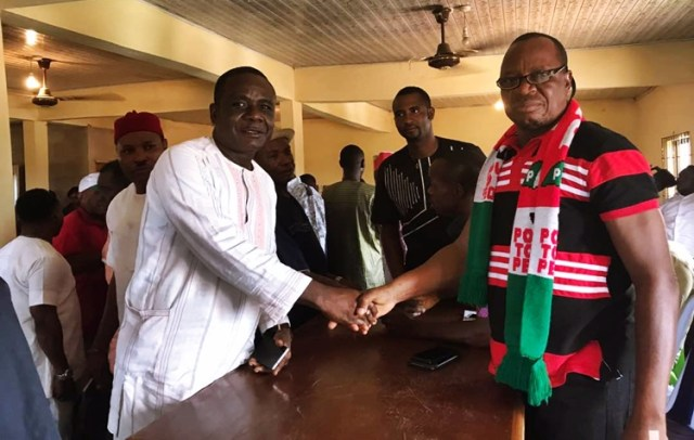 Hon Alphonsus Ojo, Member Representing Ukwuani Constituency, Delta State House of Assembly and Engr Patrick Kaine, Chairman, PDP Ukwuani Local Government Area
