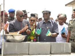 NLC President, Comrade Ayuba Wabba Performing the Flag Off of Rivers State NLC Secretariat Building Being Constructed by Governor Nyesom Wike