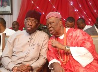 Delta State Governor, Senator Ifeanyi Okowa (left) and His Royal Majesty Emmanuel Efeizomor II, Obi of Owa Kingdom