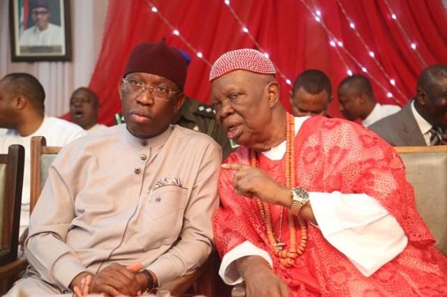 Delta State Governor, Senator Ifeanyi Okowa (left) and His Royal Majesty Emmanuel Efeizomor II, Obi of Owa Kingdom