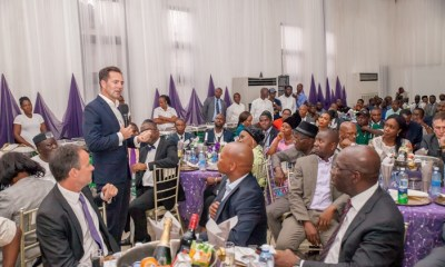 Chairman and Managing Director of Volkswagen South Africa, Mr. Thomas Scheafer, speaking at the Edo Automotive Industry Investment Forum, with Edo State Governor, Mr. Godwin Obaseki (right), and other members of the African Association of Automotive Manufacturers (AAAM), during the forum, held in Benin City.