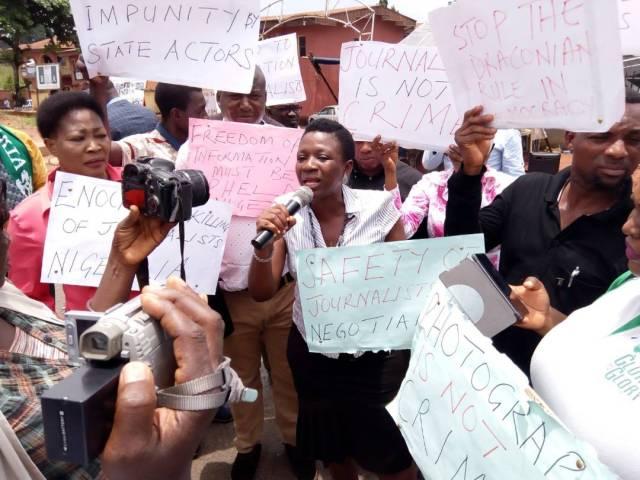 Chairperson of the Nigeria Association of Women Journalists, NAWOJ, Comrade Patricia Gbemudu