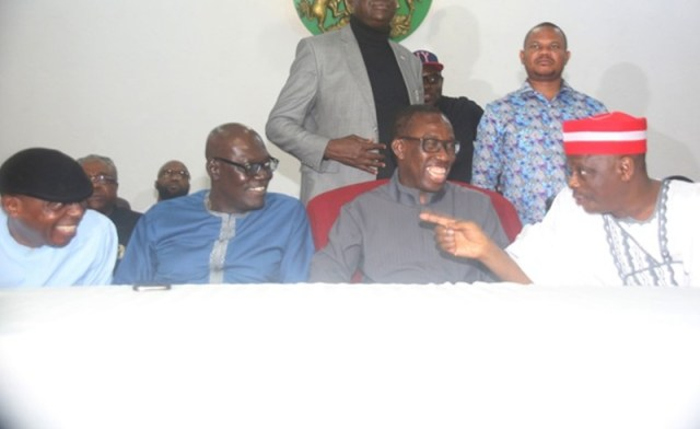Delta State Governor, Senator Ifeanyi Okowa (2nd right); former Kano State Governor and PDP Presidential Aspirant, Senator Rabiu Kwankwaso (right); State PDP Chairman, Barr. Kingsley Esiso (2nd left), and the Senator, representing Delta South, Senator James Manager, during a consultation meeting by Senator Rabiu Kwankwaso  with PDP Stakeholders in the State in Asaba.