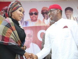 Delta State Governor, Senator Ifeanyi Okowa (right), and the Director General, National Agency for the Prohibition of Traficking in Persons (NAPTIP), Dame Julie Okah-Donli, during the 20th Edition of the Ogwa Ika, Ika National Conference at Agbor Community Hall, Ime-Obi in Ika South LGA.