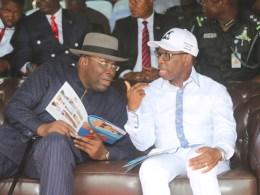 Delta State Governor, Senator Ifeanyi Okowa (right) and Governor of Bayelsa State, Hon. Seriake Dickson