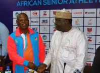 L-R: CAA Asaba 2018 LOC chairman, Solomon Ogba and President of the Confederation of African Athletics (CAA), Hamad Kalkaba Malboum
