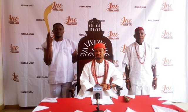 Obi of Issele-Uku Kingdom, HRM Agbogidi Obi Nduka, MNSE at the World Press Conference on the 2018 Ine Festival