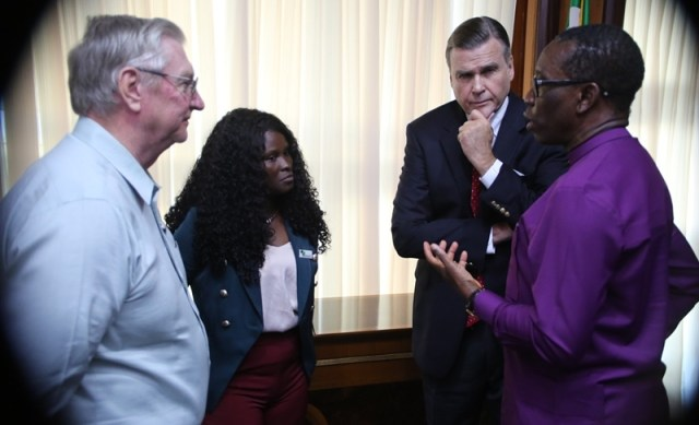 From Right: Delta State Governor, Senator Ifeanyi Okowa, the US Ambassador to Nigeria, His Excellency W. Stuart Symington, Miss Eniyekpemi Ebimobore, and the MD AWAA Jerry Cunningham, during a courtesy call by the US Ambassador to Nigeria, on the Governor in Asaba.