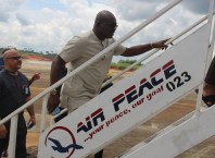 Delta State Commissioner for Information, Mr Patrick Ukah Welcoming Air Peace back to Asaba Airport