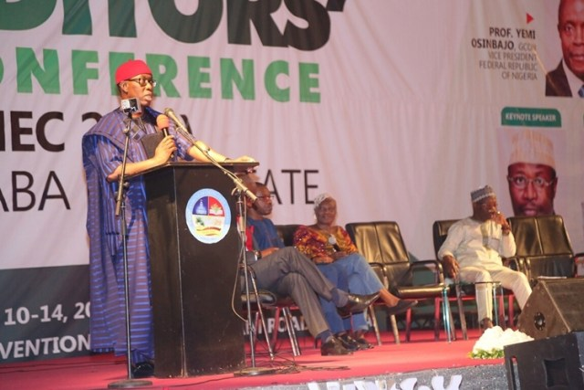 Delta State Governor, Senator Ifeanyi Okowa addressing the 14th Conference of the Nigerian Guild of Editors, held in Asaba.