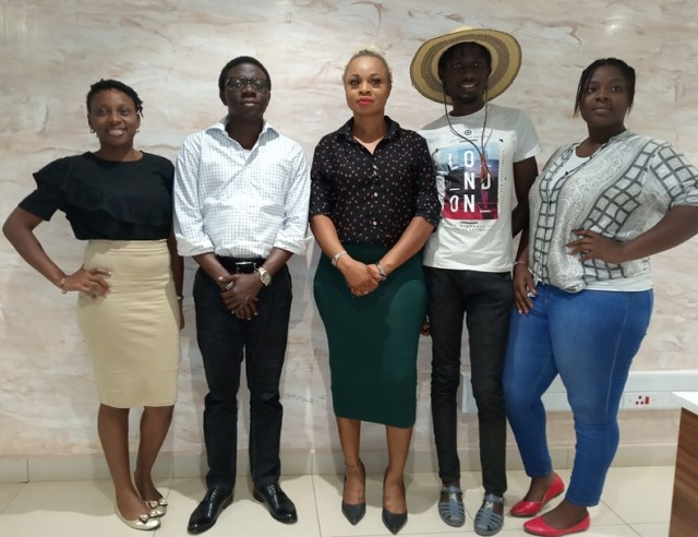 Convener of African Fashion Market Festival and Chief Executive Officer, CEO, Signature Secret Africa, Mrs Oreva Okowa (Middle) Flanked by Staff of Asaba Mall