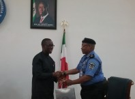 Delta State Governor Sen Ifeanyi Okowa during a courtesy call by the Assistant Inspector General of Police (AIG), Zone 5 Usman Alkali Baba Usman