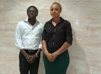 R-L: Founder/Convener of Delta Fashion Designers and Chief Executive Officer, CEO, Signature Secret Africa, Mrs Oreva Okowa and Representative of Asaba Mall, Mr Jide Oladimeji