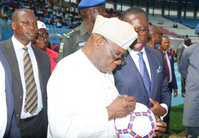 Delta State Governor, Senator Ifeanyi Okowa (right) and former President of the Federal Republic of Nigeria, His Excellency, Chief Olusegun Obasanjo, during  the Official Opening and Commissioning of Stephen Keshi Stadium, Asaba.