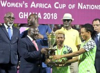 NFF President, Amaju Pinnick (Left) Witness Super Falcons Lift their 9th AWCON Cup in Ghana
