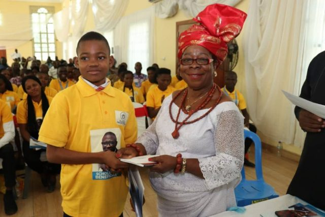 R-L: Chief (Mrs.) Esther Onokpasa and Master Chigozie Godstime