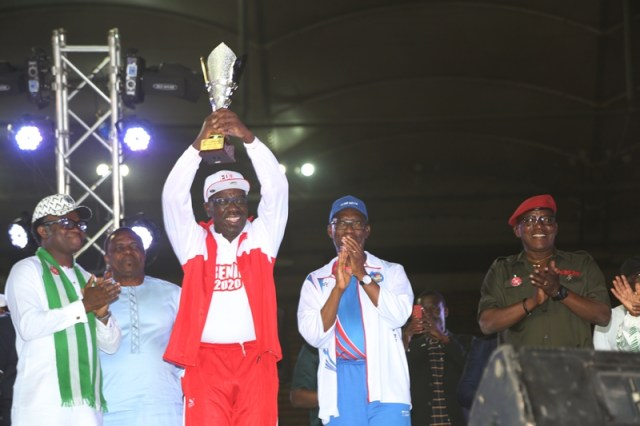 Edo State Governor, Godwin Obaseki Lifts Team Edo Trophy as they Clinch 3rd Place