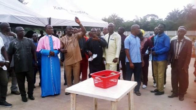 Hon Festus Okoh Raising Hands during a Praise Prayers section at his Residence