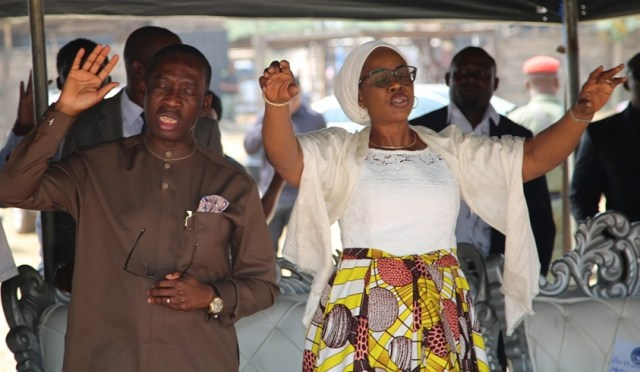 Delta State Governor, Senator Ifeanyi Okowa (left) and his wife, Dame Edith, during a Special Service and Prayer Session organized by Bridge Builders, held on Monday, December 31, 2018 in Agbor Delta State.