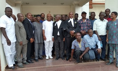 Chief Cyril Ogodo (Middle) Flanked By His Legal Team and Party Loyalists At The Federal High Court Asaba