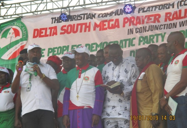 (L-R)Delta State Christian Community Platform Leaders; Rev. Dr. Cyril Okonye, President, CCP Delta State, Bishop Greatman Nmalagu, BOT Chairman CCP, and Executive Assistant to Delta State Governor on Religious Matters, Senior Apostle Sylvanus Okorote, Delta State CAN President at the Mega Rally