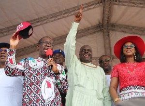 Delta State Governor, Senator Ifeanyi Okowa (2nd left); his wife, Dame Edith (right); Deputy Governor of Delta State, Barr. Kingsley Otuaro (left) and former Governor of Delta State, Chief James Ibori, during the Peoples Democratic Party (PDP) Campaign Flag Off, at Oghara Township Stadium, Delta State.