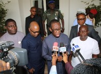 Delta State Governor, Senator Ifeanyi Okowa (2nd right); Secretary to State Government, Hon. Ovie Agas (2nd left); Commissioner for Works, Chief James Augoye (left) and Commissioner for Environment, Hon. John Nani, during the Preliminary of the Committee to Study and Advise Government on Measures Required to Tackle and Control Flooding in Effurun/Warri and its Environs in Delta State.